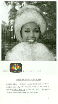 Diahann Carroll in advertisment for NBC Television