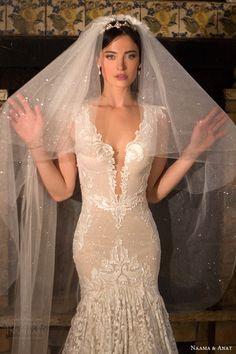 naama anat bridal 2017 cap sleeves split sweetheart trumpet wedding dress (desire) zv