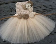 Rustic Flower Girl Dress -Cream/Ivory Tutu/Rustic Flower Girl/Country Flower Girl Dress Cream Cream Lace Top/Country Wedding-Vintage Weddin by Victoria Kring