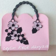 Lovely Pink Felt Flower Bag