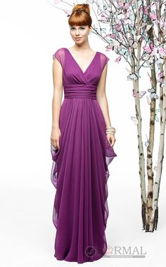 Elegant With Sleeves V-Neck Chiffon Long Bridesmaid Formal Dress (BDAU-0880) at 4formal.com.au