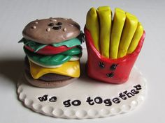 Hamburger & Fries Wedding Cake Topper, Hamburger and Fries Topper, Hamburger…
