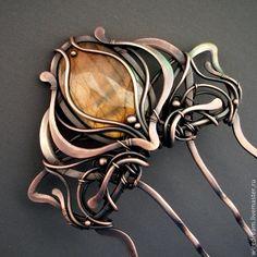 медный гребень Арфа - коричневый,гребень,гребень для волос,гребень с камнем