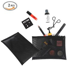 Travelmall 2 piece Black Mesh makeup bag cosmetic brushes case for Beauty Essentials Portable size for travel *** You can get additional details at the image link.Note:It is affiliate link to Amazon.