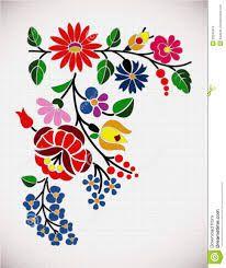 Kalocsai Embroidery - Hungarian Floral Folk Pattern With Birds Stock Vector - Illustration of decoration, folk: 51954811 Hungarian Embroidery, Folk Embroidery, Learn Embroidery, Chain Stitch Embroidery, Embroidery Stitches, Embroidery Patterns, Bordado Popular, Stitch Head, Crochet Hook Set