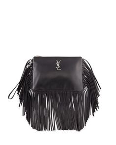 Monogram+Fringe+Leather+Clutch+Bag,+Black+by+Saint+Laurent+at+Neiman+Marcus.