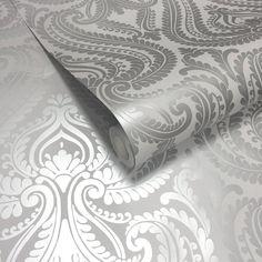 Shimmer Damask Wallpaper Soft Grey, Silver (ILW980043)