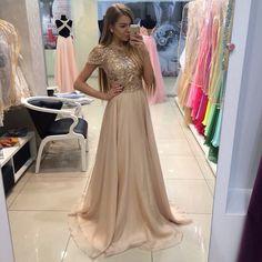 Short Sleeve Prom Dresses with Rhinestones A-line Flowing Chiffon Vestidos De Fiesta 2016 CS100