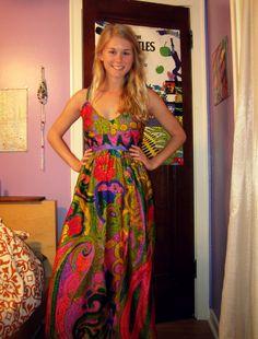 Crazy Pattern Maxi Dress (closer up)