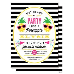 Pineapple Invitation, Pineapple Birthday Party, Party Like a Pineapple, Tropical Summer Pool Party, Printable or Printed