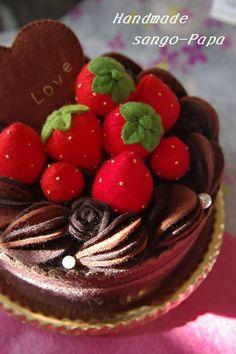 gâteau chocolat fraise - feutrine