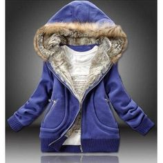 Stylish Long Sleeves Solid Color Zippered Flocking Hooded Hoodie For Women