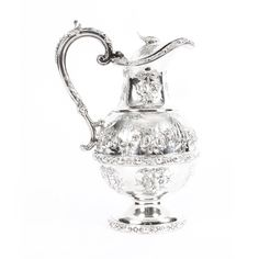 A truly stunning English Victorian silver-plated claret jug, bearing the makers' mark of the renowned silversmiths Martin Hall & Co. Martin Brothers, Makers Mark, 19th Century, Silver Plate, Initials, Plating, Victorian, Sheffield, Antiques