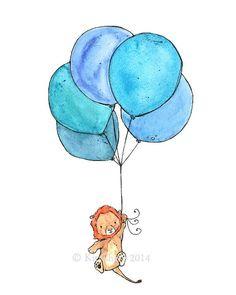 Children's Art -- Lion Balloons -- Archival Print