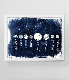 Planetary system poster for kids. Beautiful, originally navy blue background and planets' pictures. Kids prints