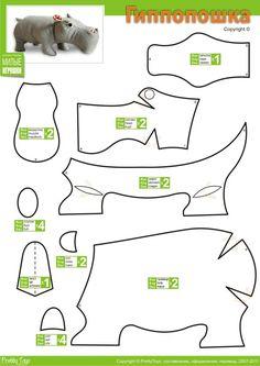 Wonderweirded Animal Plushies Patterns Featured : How to make a Soft Toy Hippopotamus Plushie , Printable Pattern at pretty toys Гиппопошка