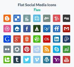 Free Flat Social Media Icons by Designmodo