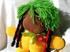 This little raggamuffin rasta doll is soooo cute! ONE LOVE Wild Hair Reggae Rag Happy Cute DOLL  by TALLhappyCOLORS, €42.00