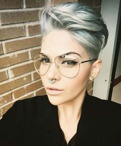 asymmetrical pixie with side swept bangs. credit This sleek pixie cut. credit This lazy day pixie. Long Pixie Cuts, Short Pixie Haircuts, Pixie Hairstyles, Short Hair Cuts, Cool Hairstyles, Short Hair Styles, Haircut Short, Punk Pixie Haircut, Short Female Hairstyles