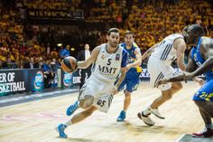Rudy Fernandez, basketball player (on the left) of Real Madrid Baloncesto (white n°5) was wearing Nike Hyperdunk 2013 Blue – White PE (player edition) during the Euroleague Final Milan. 18.5.2014