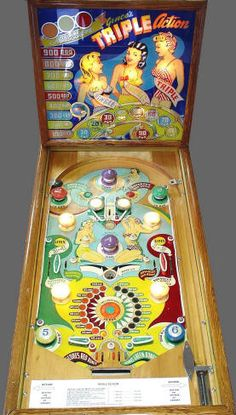 """In a firm called Genco placed one set of flippers at the very bottom of the playfield in a machine called """"Triple Action"""" - But the setup was still a little unusual by today's standards; the flippers were facing outwards, not inwards like today's models. Pinball Games, Pinball Wizard, Arcade Games, Video Game Machines, Machine Video, Penny Arcade, Pool Tables, Arcade Machine, Old Coins"""