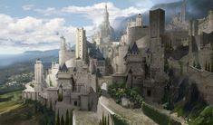 ArtStation - The castle of Knights, Kim Eun Chul Fantasy Town, World Of Fantasy, Fantasy Castle, Fantasy Places, Fantasy Map, High Fantasy, Medieval Fantasy, Fantasy Art Landscapes, Fantasy Landscape