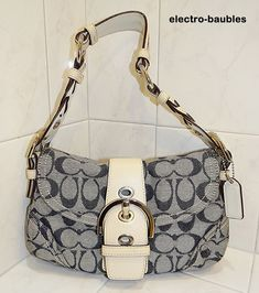 Selling for under a BUCK!  COACH Soho Denim Small Signature Flap Leather Braided Serial #H0673-06171 - EUC #Coach #Hobo