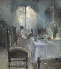 I love the light in this painting. Bertha Wegmann (Danish, Interiør med kvinde som syr [Woman sewing in an interior], Oil on canvas. Paintings I Love, Beautiful Paintings, Texture Painting, Painting & Drawing, Painting Doors, Interior Painting, Painting Canvas, Painting Abstract, Illustration Art