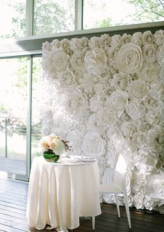 Simple white sweetheart table accented with Balushka's amazing paper flower backdrop ~ we ❤ this! moncheribridals.com