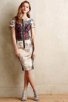Byron Lars Pieced Brocade Dress