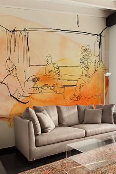 Watercolor illustration for wallpaper, interior and people