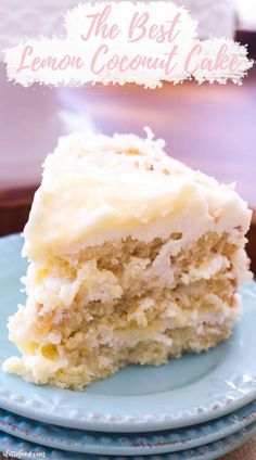 This Lemon Coconut Cake recipe with cream cheese frosting is the best lemon cake recipe! Classic coconut cake is filled with homemade lemon curd and lemon cream cheese frosting. Coconut lemon cake from scratch makes the best Easter dessert recipe! Easy Easter Desserts, Spring Desserts, Lemon Desserts, Köstliche Desserts, Lemon Recipes, Delicious Desserts, Dessert Recipes, Easter Recipes, Lemon Cakes