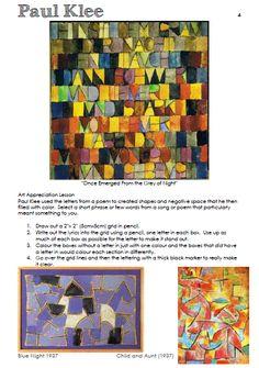 Paul Klee word grid art lesson