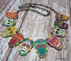 day of dead  necklace mulitple sugar skull rainbow flower charm  FREE US SHIPPING. $29.95, via Etsy.