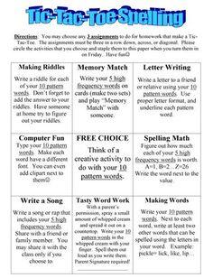 TicTacToe Spelling ideas