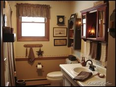 Linda of Behind My Red Door's bathroom.  Always loved it!  Prim perfect, Linda!