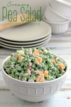 Creamy Pea Salad ~ a nice change from the typical potato or pasta salad, this salad requires very little cooking and a little bit of chopping | LoveBakesGoodCakes.com