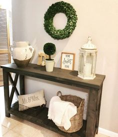 Farmhouse Entry Table Rustic Entry Table Accent Table We call this style the HDM in honor of its original creator (Home Decor Momma), constructed of soli Sofa Table Decor, Accent Table Decor, Table Decor Living Room, Table Decorations, Accent Tables, Dining Table, Rustic Entry Table, Entry Tables, Farmhouse Entryway Table