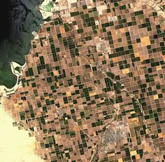"""Agriculture patterns from the sky - the area in CA near the Salton Lake (remember val kilmer in """"The salton sea""""?)"""