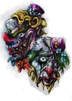 Clown - Tattoo Design by HisakiChan