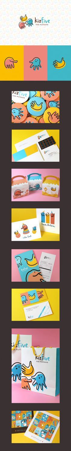 kizfive branding. Beautiful and vibrant colors and illustrations for a kids brand identity.