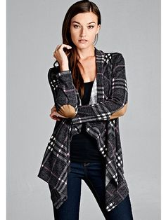 Prepare yourself! You're going love this beautiful plaid cardigan way more than you could have imagined! The soft material and those trendy elbow patches make for one fantastic cardi! All you need is