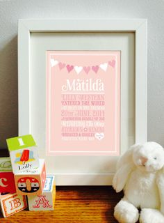 Personalised Bunting New Baby/Birth/Christening Print Framed Picture Gift