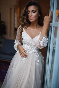 ba0687b5eb7 Bohemian wedding dress long sleeve