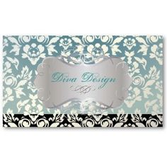 Pixdezines Haute Coutour Damask, Faux Pearl Business Card Template