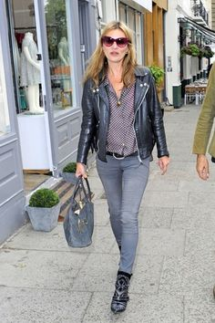 Kate Moss Leather Jacket - Kate Moss Looks - StyleBistro