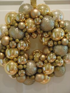 Gold Glass Ornament Christmas Wreath