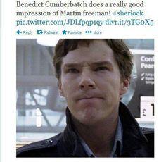 Benedict doing an impression of Martin Freeman