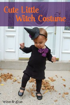 Cute Little Witch Costume {with Hat Headband Tutorial} from Wine & Glue