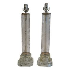 Pair of Mid-Century Etched Glass Lamps